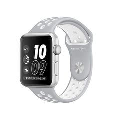 APPLE WATCH SERIES 2 38MM SILVER ALUMINUM CASE WITH FLAT SILVER/WHITE NIKE SPORT BAND, OS 3 - MNNQ2