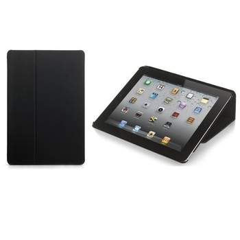 PURO BOOKLET COVER IPAD2/NEW IPAD & STAND UP SHINY ECO-LEATHER BLACK