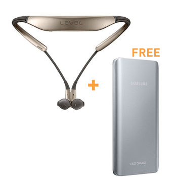SAMSUNG BLUETOOTH LEVEL U HEADSET GOLD+ FAST BATTERY PACK 5200MAH SILVER
