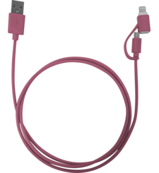 MYCANDY MFI DUO LIGHTNING CABLE 1M NEON,  red