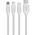 MYCANDY 3 IN 1 CABLE - MICRO USB, LIGHTNING & TYPE C UU02,  white