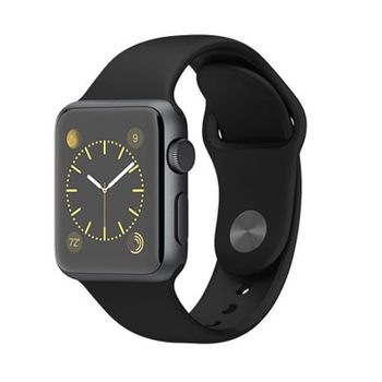 APPLE WATCH SERIES 1 38MM SPACE BLACK STAINLESS STEEL CASE WITH BLACK SPORT BAND MLCK2AE/A,  black, 38 mm