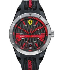 FERRARI SCUDERIA RED REV T MEN'S BLACK DIAL SILICONE BAND WATCH 830253