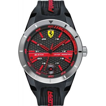 FERRARI SCUDERIA RED REV T MEN S BLACK DIAL SILICONE BAND WATCH 830253