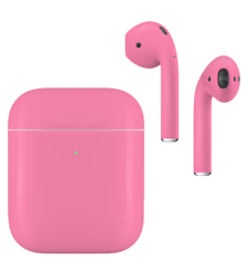 APPLE AIRPODS SECOND GEN WIRELESS PAINTED SPECIAL EDITION, matte,  romance pink