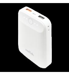 سويتش شاحن متنقل 10,000 مللي آمبير منفذي USB مزود بقتنية الشحن السريع QC 3.0,  White