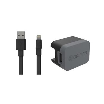 GRIFFIN WALL CHARGER WITH LIGHTNING 3 PIN POWERBLOCK,  black