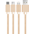 MYCANDY 3 IN 1 CABLE - MICRO USB, LIGHTNING & TYPE C UU02,  gold