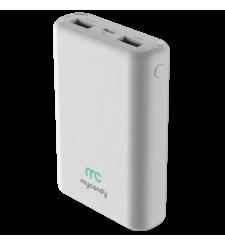 MYCANDY 10000MAH DUAL USB 2.1 A FAST CHARGE POWER BANK,  white