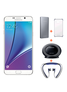 SAMSUNG GALAXY NOTE 5 32GB+ Samsung Battery Pack+ Level U Wireless Headset+ Clear Case+ Wireless Charger,  white