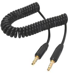 AIINO CABLE AUXILIARY AUDIO COILED,  black