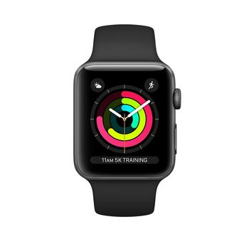 APPLE SERIES 3 SMART WATCH - 38MM SPACE GREY ALUMINUM CASE WITH BLACK SPORT BAND, GPS, WATCH OS 4, MQKV2
