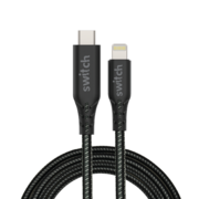 SWITCH ULTRA RUGGED TYPE-C TO MFI LIGHTNING CHARGE AND SYNC CABLE 1.2M BLACK