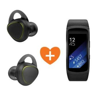SAMSUNG BLUETOOTH STEREO GEAR ICON X HEADSET+ SAMSUNG FITNESS BAND LARGE,  black