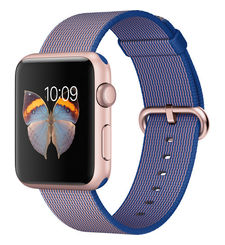 APPLE WATCH SPORT SERIES 1 42MM ROSE GOLD ALUMINUM CASE WITH ROYAL BLUE WOVEN NYLON MMFP2AE/A
