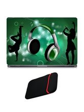 Skin Yard Green Musical Headphone Laptop Skin with USB LED & OTG Cable, 14.1 inch