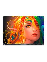 Skin Yard Rainbow Hair Art Girl Potrait Laptop Skin With Laptop Sleeve, 15.6 inch