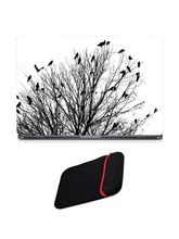 Skin Yard Silhouette Tree with Crowded Birds Sparkle Laptop Skin with USB LED & OTG Cable, 14.1 inch
