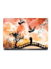 Skin Yard Kissing Couple On Bridge Painting Sparkle Laptop Skin With Laptop Sleeve, 15.6 inch