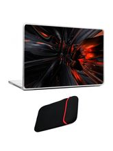 Skin Yard Red Black 3D Abstract Laptop Skin with USB LED & OTG Cable, 14.1 inch