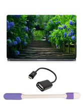 Skin Yard Path of Flower Garden Laptop Skin with USB LED & OTG Cable, 14.1 inch