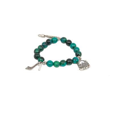 Lock & Key-Green, green, green semiprecious  silver charms