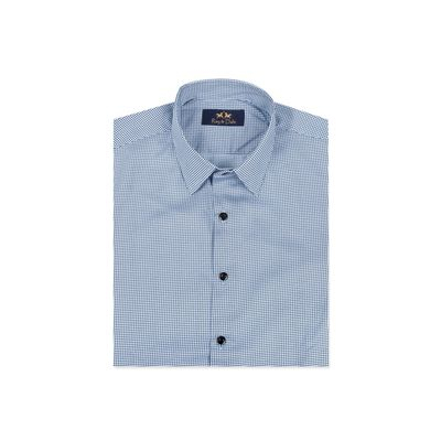 The Marina Bay Checks, m, giza egyptian cotton, blue
