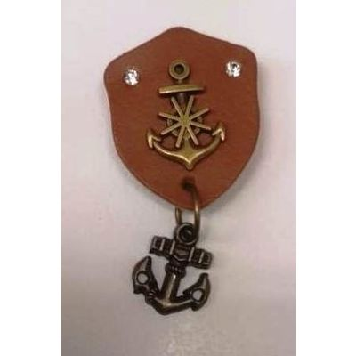 Leather Anchor Lapel pin, as per picture, metalic