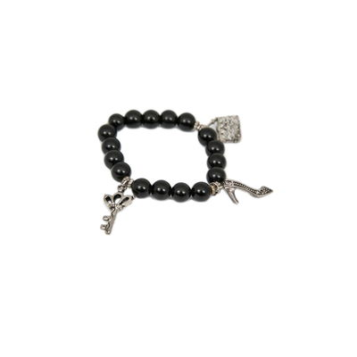 Lock & Key-Black, black, semiprecious stones with charms