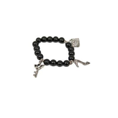 Lock & Key-Black, black, semiprecious stones with charms
