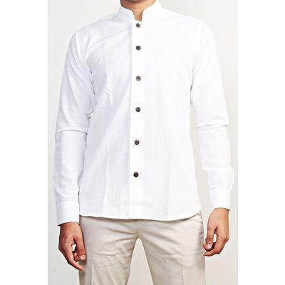 THE MAHARAJA COLLECTION: BANDHGALA SHIRT, cotton linen, white, m