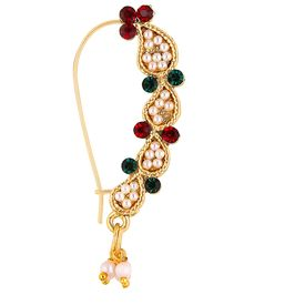 Pink Rose - Complement Collection Multicolour Pearl Alloy Princess Delight Nose Ring For Women, 5, multicolour, alloy