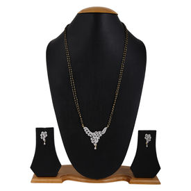 Pink Rose - Devine Collection Black White Alloy Blessings Double Chain MangalSutra Set For Women, 24, white, alloy