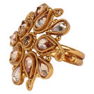 Pink Rose - Bridal Collection Gold Polki Stone Copper Ring For Women/Girls, copper, adjuatable, gold