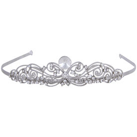 Pink Rose - Complement Collection White Alloy Stone Royal Charm Hair Crown Tiara For Women (Head Gear)