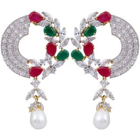 Pink Rose - Complement Collection American Diamond Ruby Green White Pearl Alloy Love Drops For Women