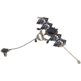 Pink Rose - Attitude Collection Black Rise Alloy Charm Haath Phool For Women