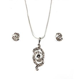 Pink Rose - Complement Collection Silver Dazzling Metal Necklace Set For Women