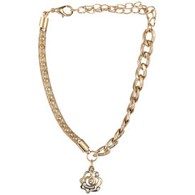 Pink Rose - Complement Collection Gold Alloy Rose Anklet For Women