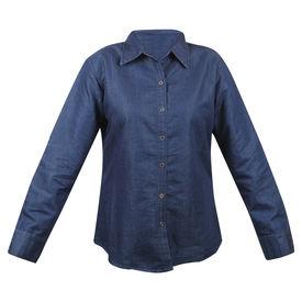 Pink Rose Women Blue Shirt, l, denim, dark blue