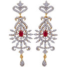 Pink Rose - Complement Collection American Diamond White Alloy Love Drops For Women