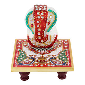 Pink Rose Multicolour Handmade Marble Chowki Ganesha Showpiece Set For Gift / Diwali Gift, 9.5x9.5x3, marble, multicolour