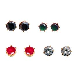 Pink Rose - Complement Collection Black Green Maroon White Stone Alloy Charm Studs Combo For Women (Pack of 4 Studs Set)