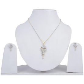 Pink Rose - Complement Collection White American Diamond Alloy Flower Charm Pendant Set For Women