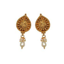 Pink Rose - Golden dangle Earring