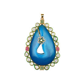 Pink Rose - Designer Collection Blue Druzy Stone Kundan Copper Pendant For Women, 10, blue, druzy stone/copper