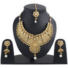 Pink Rose - Complement Collection Gold Kundan Pearl Alloy Princess Delight Necklace Set With Maang Tikka For Women