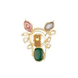 Pink Rose - Designer Collection Multicolour Druzy Stone Copper Charm Pendant For Women, 10, multicolour, druzy stone/copper