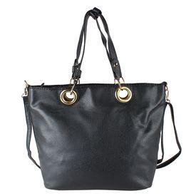 Pink Rose - Elegant Collection Black Charm Handbag With Sling Bag (Set of 2)