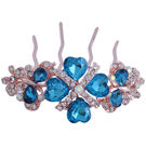 Pink Rose - Complement Collection Blue Gold Alloy Stone Bridal Butterfly Charm Hair Pin For Women (Head Gear/Juda Pin)
